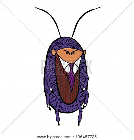 Office cockroach. Cockroach in a good suit. Vector caricature illustration