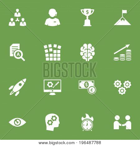 Set Of 16 Strategy Icons Set. Collection Of Thinking Head, Meeting, Unity And Other Elements.