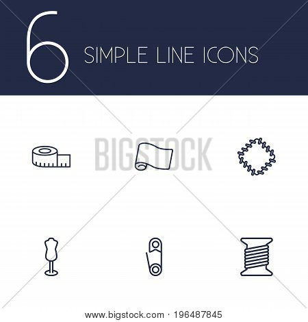 Set Of 6 Sewing Outline Icons Set. Collection Of Fabric, Measuring Tape, Safety Pin And Other Elements.