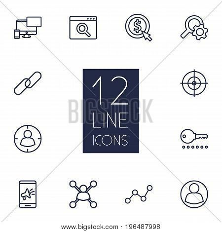 Set Of 12 Optimization Outline Icons Set. Collection Of SEO Test, Web Design, Cost Per And Other Elements.