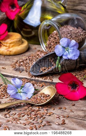 Flowers And Flax Seeds