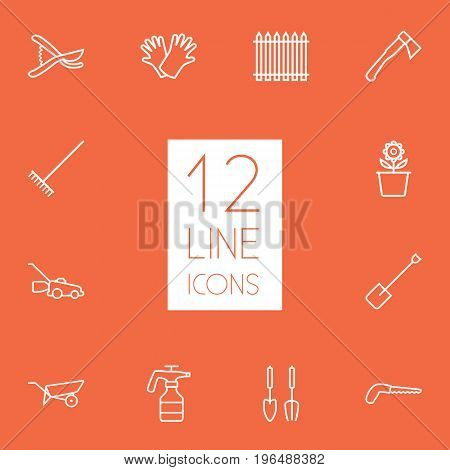 Set Of 12 Household Outline Icons Set. Collection Of Harrow, Secateurs, Atomizer And Other Elements.