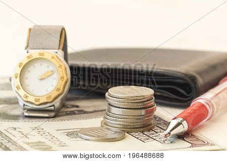 background financial banknote and coin money with business