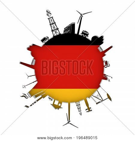 Circle with industry relative silhouettes. Objects located around the circle. Industrial design background. Flag of Germany in the center. 3D rendering.