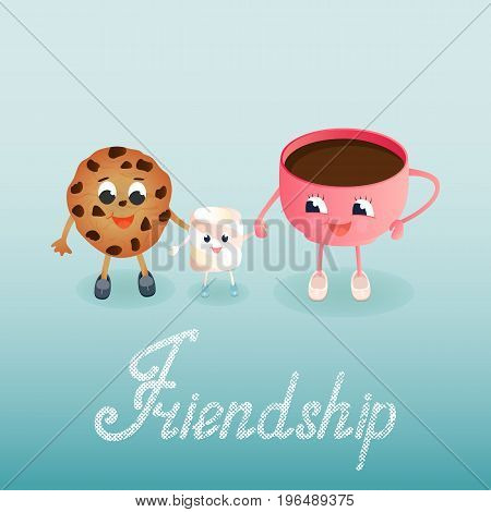 A funny Marshmallow and a chocolate chip cookie with a coffee cup. Greeting card to the Friends Day. Friendship hand lettering