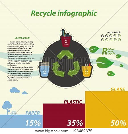 recycle infographics tree recycling bins illustration with paper plastic glass
