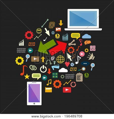Vector mobile phone and laptop with icons in flat style - business concept - data exchange Info graphic