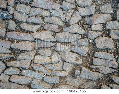 Image of a cobblestone footpath. Plan view.