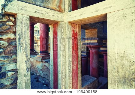 Old walls of Knossos near Heraklion. The ruins of Minoan palaces is the largest archaeological site of all the paleces in Mediterranean island of Crete, UNESCO tentative list, Greece