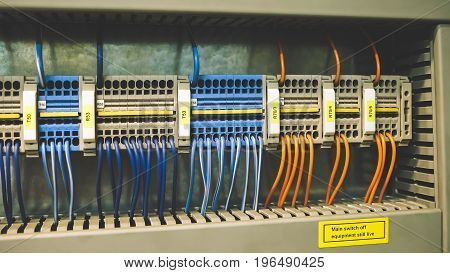 Colorful PLC Wires in Control Panel System