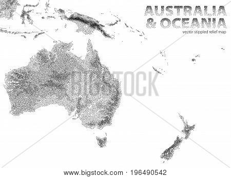 Vector stippled illustration of Australia and Oceania relief map