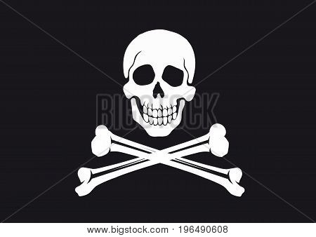 skull and crossbones on a black background Pirate symbol Jolly Roger