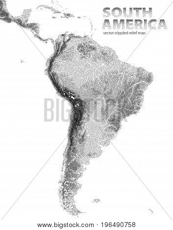 Vector stippled relief map of South America