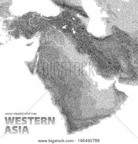 Vector stippled relief map of Western Asia