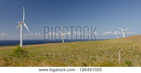 Wind Turbines Near Upolu Point, Big Island, Hawaii