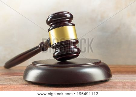 Judge Gavel And Sound Board On A Wooden Desk, Justice Symbol And Concept For Social Justice In Law A