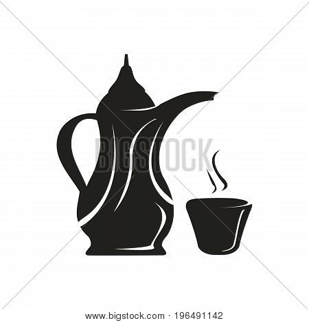 elegant silhouette icon for arabian coffee pot with cup