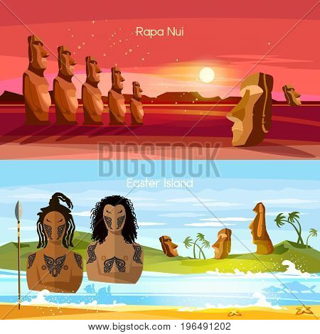Easter Island banners Moai statues of Easter island landscape Polynesia. Stone idols. Tourism and vacation tropical background. People of Easter Island tradition and culture