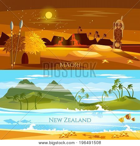 New Zealand banners. Tradition and culture New Zealand. Mountains and beach landscape natives. Village of aboriginals Maori of New Zealand