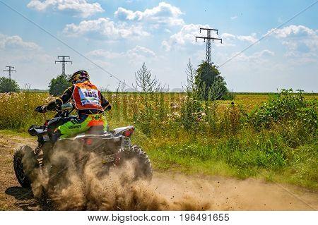 ATV in action. BAJA Bulgaria Raly, Ivanovo village area, Kosov village, Ruse region, Bulgaria. July 21, 2017.