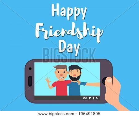 Happy day of friendship. Two friends hug and smile. Two friends taking selfie photo. Vector illustration in a flat style
