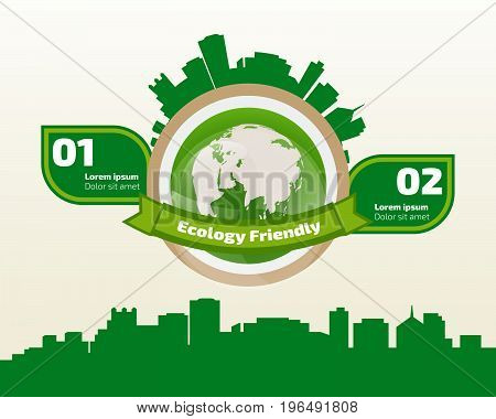 green ecology infographic element save world and tree eco concept. used for workflow layout banner diagram web design timeline info chart statistic brochure template. vector illustration