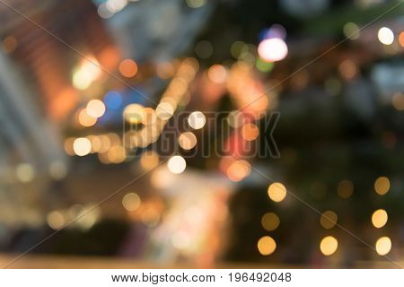 Abstract Bokeh blurred color light background copy space.