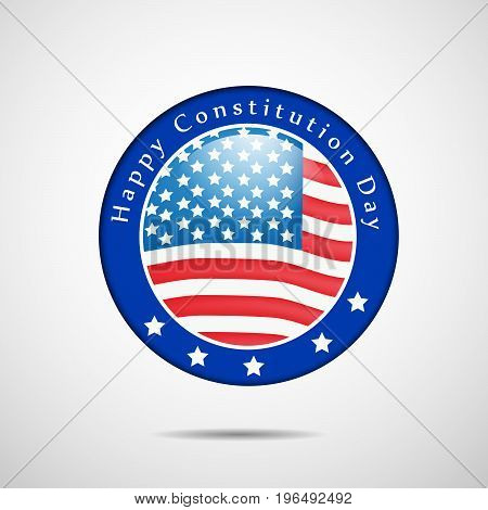 illustration of stamp in USA Flag background with Happy Constitution Day text on the occasion of USA Constitution Day