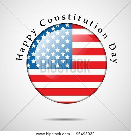illustration of button in USA flag Background with Happy Constitution Day on the occasion of USA Constitution Day