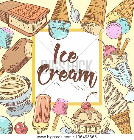 Ice Cream Hand Drawn Design with Cold Desserts, Fruits and Chocolate, Cones and Waffles. Vector illustration