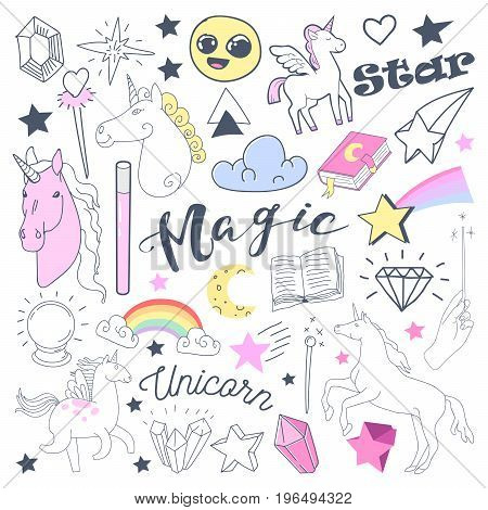 Freehand Kids Magical Doodle with Unicorn and Rainbow. Hand Drawn Fairytale Elements Set. Vector illustration poster