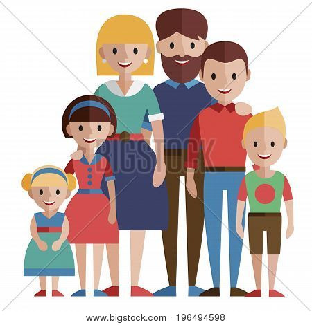 Portrait of happy family parents with children.