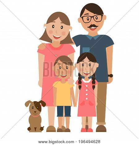 Small, tightly-knit family of 2 parents, 2 children and dog.