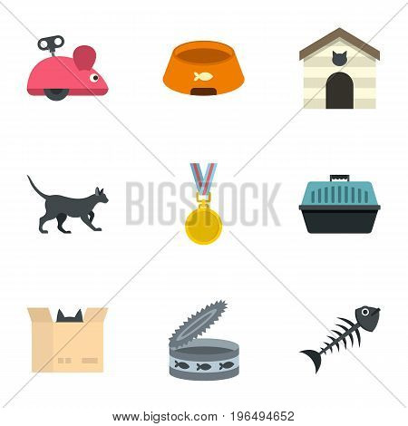 Cat toys icons set. Cartoon set of 9 cat toys vector icons for web isolated on white background