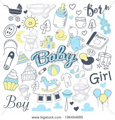 Baby Shower Freehand Doodle. Newborn Hand Drawn Elements Set with Boy and Girl. Vector illustration