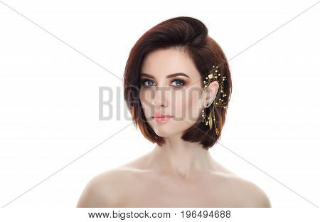 Beauty portrait of adult adorable fresh looking brunette woman with gorgeous makeup diy headpiece bob hairdo posing against isolated white background showing emotion and facial expression concept.