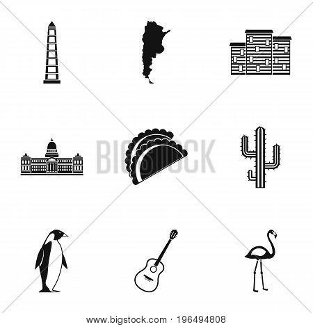Argentina travel icons set. Simple set of 9 argentina travel vector icons for web isolated on white background