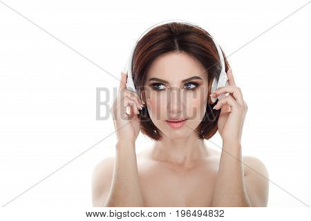 Beauty Portrait Of Adult Adorable Fresh Looking Brunette Woman With Gorgeous Makeup Wireless Headpho