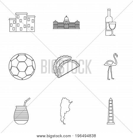 Argentina travel icons set. Outline set of 9 Argentina travel vector icons for web isolated on white background