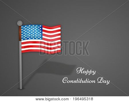 illustration of USA Flag with Happy Constitution Day text on the occasion of USA Constitution Day