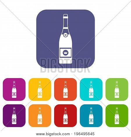 Champagne icons set vector illustration in flat style in colors red, blue, green, and other