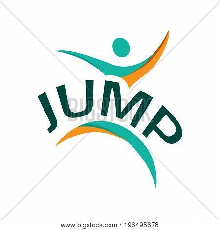 jump logo with the word in the middle of abstract jump person.  isolated on white background.