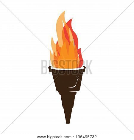 torch icon with flames isolated on white background.