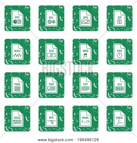 File format icons set in grunge style green isolated vector illustration
