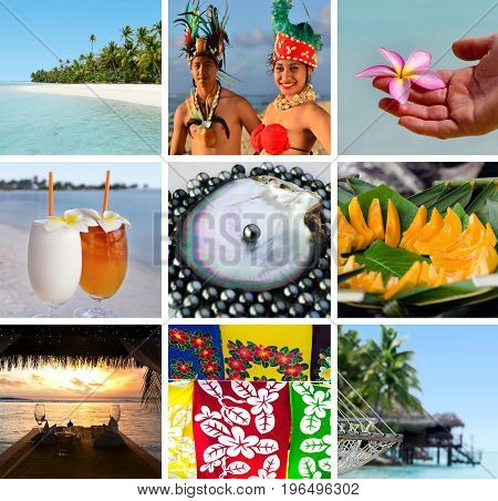 Cook Islands collage montage. Travel Pacific Islands