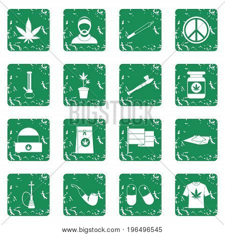 Rastafarian icons set in grunge style green isolated vector illustration