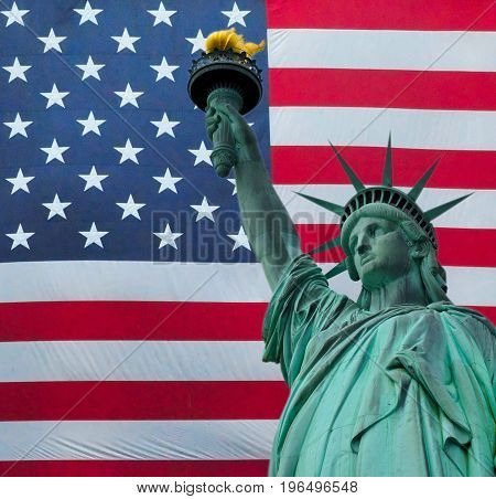 The Statue of liberty over the flag of the United States of America. American Collage background