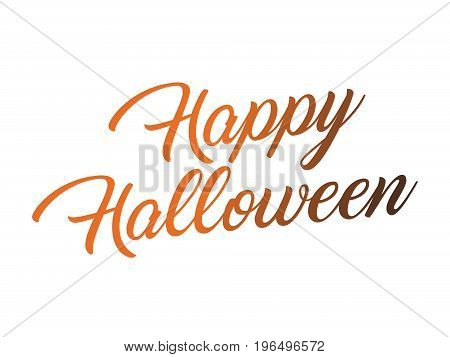 The black and orange gradient isolated hand writing word HAPPY HALLOWEEN on white blackground