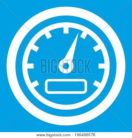 Speedometer icon white isolated on blue background vector illustration