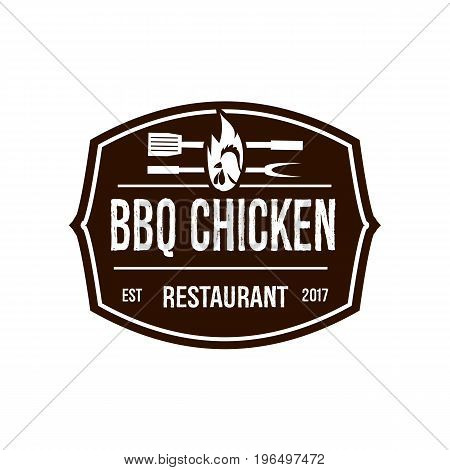 vintage BBQ chicken logo. isolated on whitebackground.